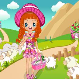 Aranyos kislány öltöztetős játék