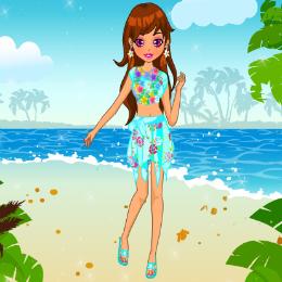 Hawaii lány öltöztetős játék