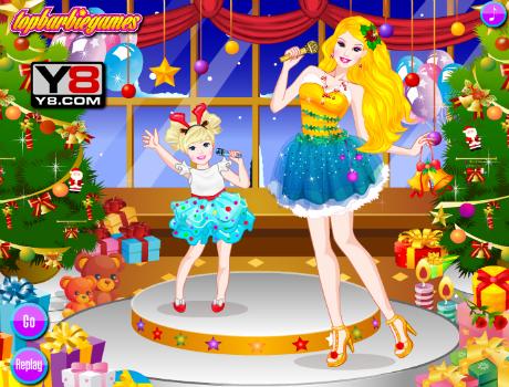 Karácsonyi parti öltöztetős Barbie játék