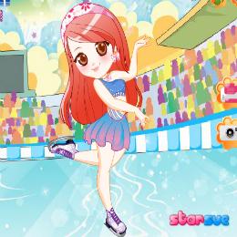 Korcsolyázó lány öltöztetős játék