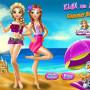 Elsa és Anna strandon hercegnős játék